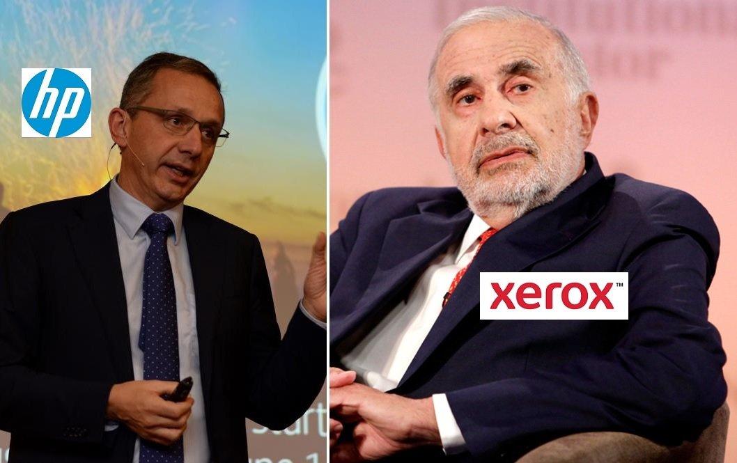 Enrique Lores, presidente y CEO de HP, y Carl Icahn, accionista de Xerox