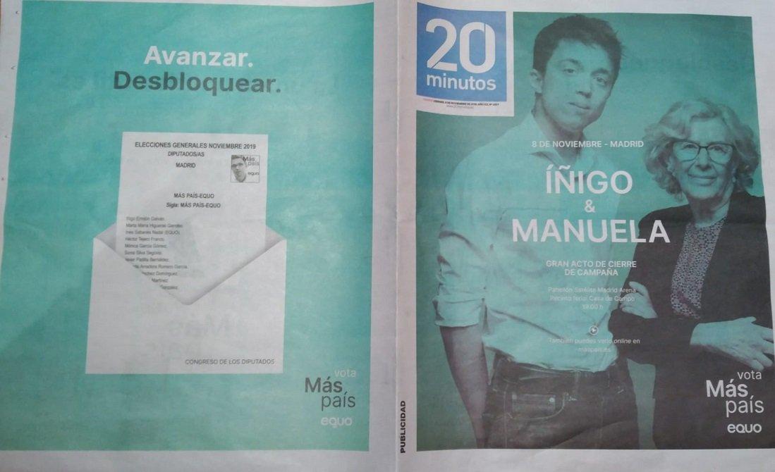 Más País en la portada de '20 Minutos' del viernes previo al 10-N