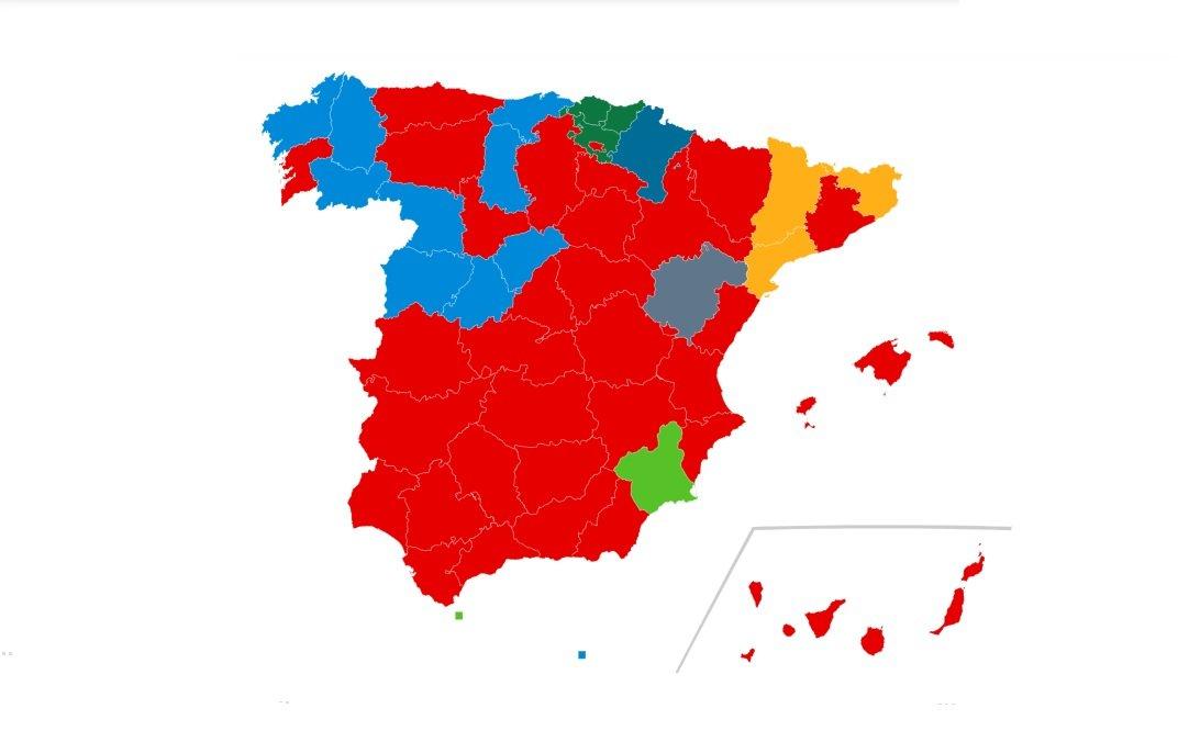 Mapa de los resultados de las elecciones del 10-N por las provincias