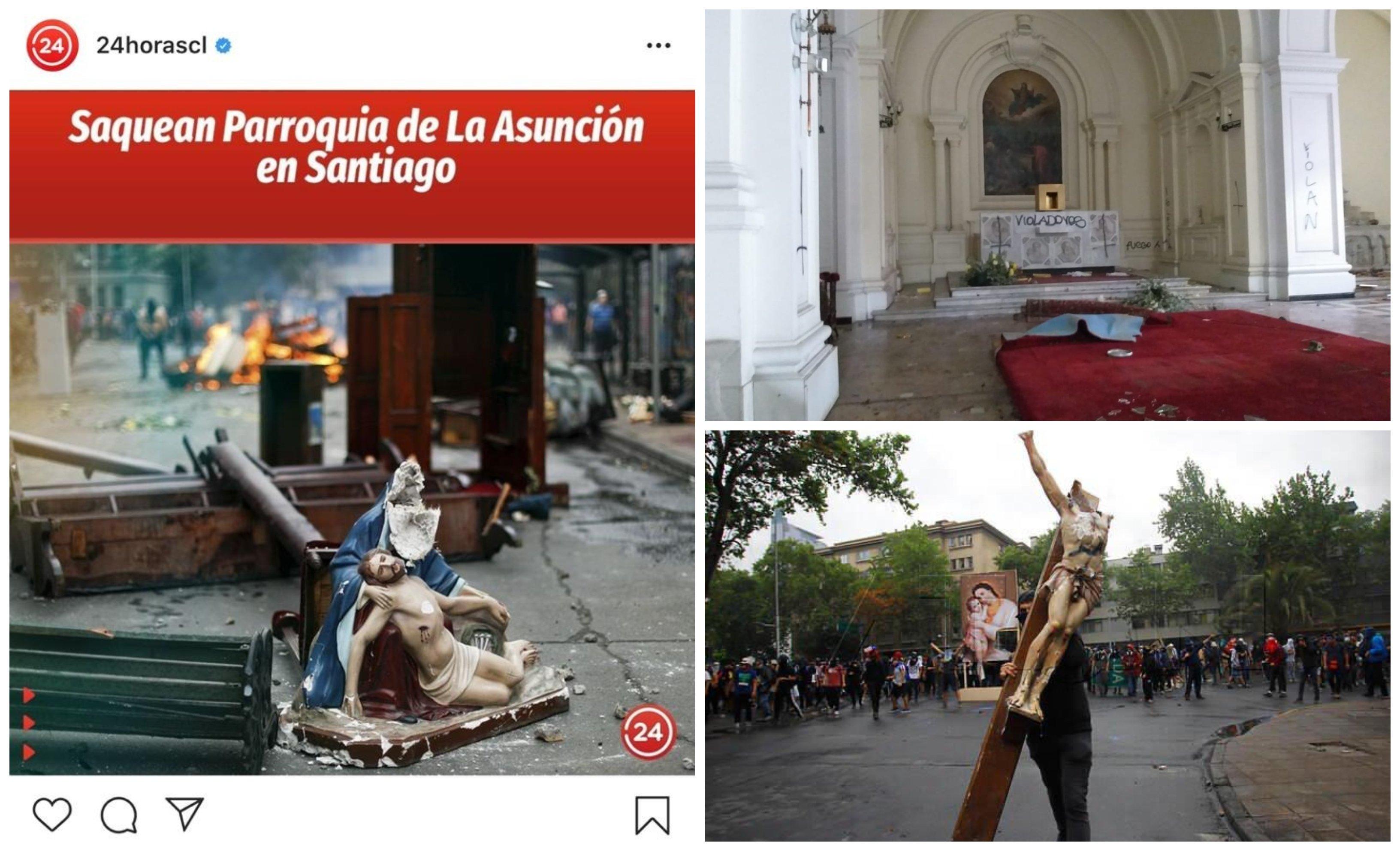 Profanaciones en Iglesias de Chile