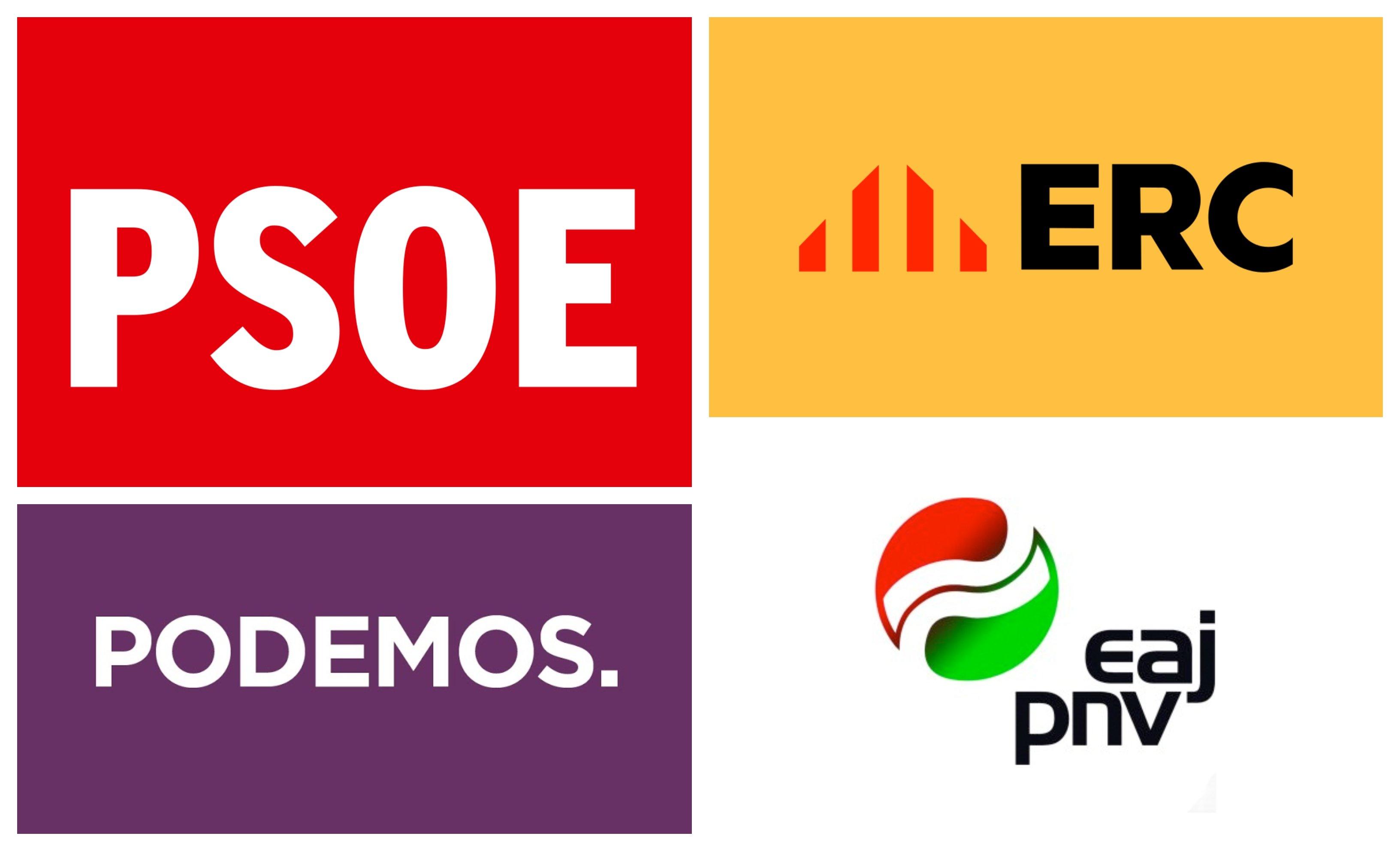 Logos PSOE, Podemos, ERC y PNV