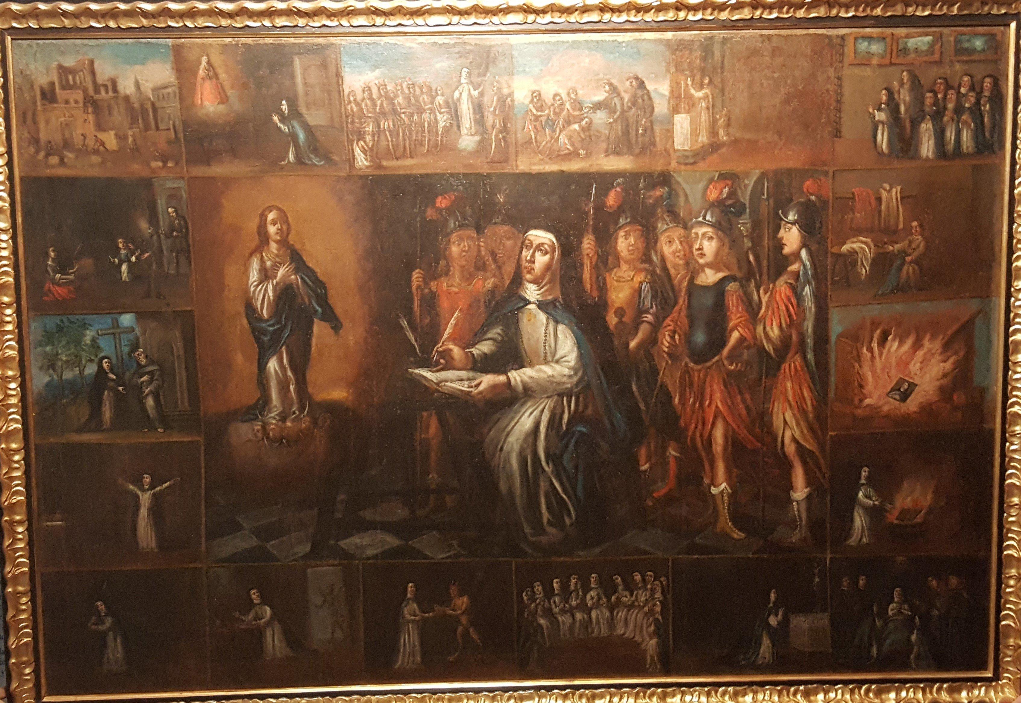 Cuadro de los distintos aspectos de la vida de Sor María de Jesús de Ágreda, que se conserva en el monasterio soriano