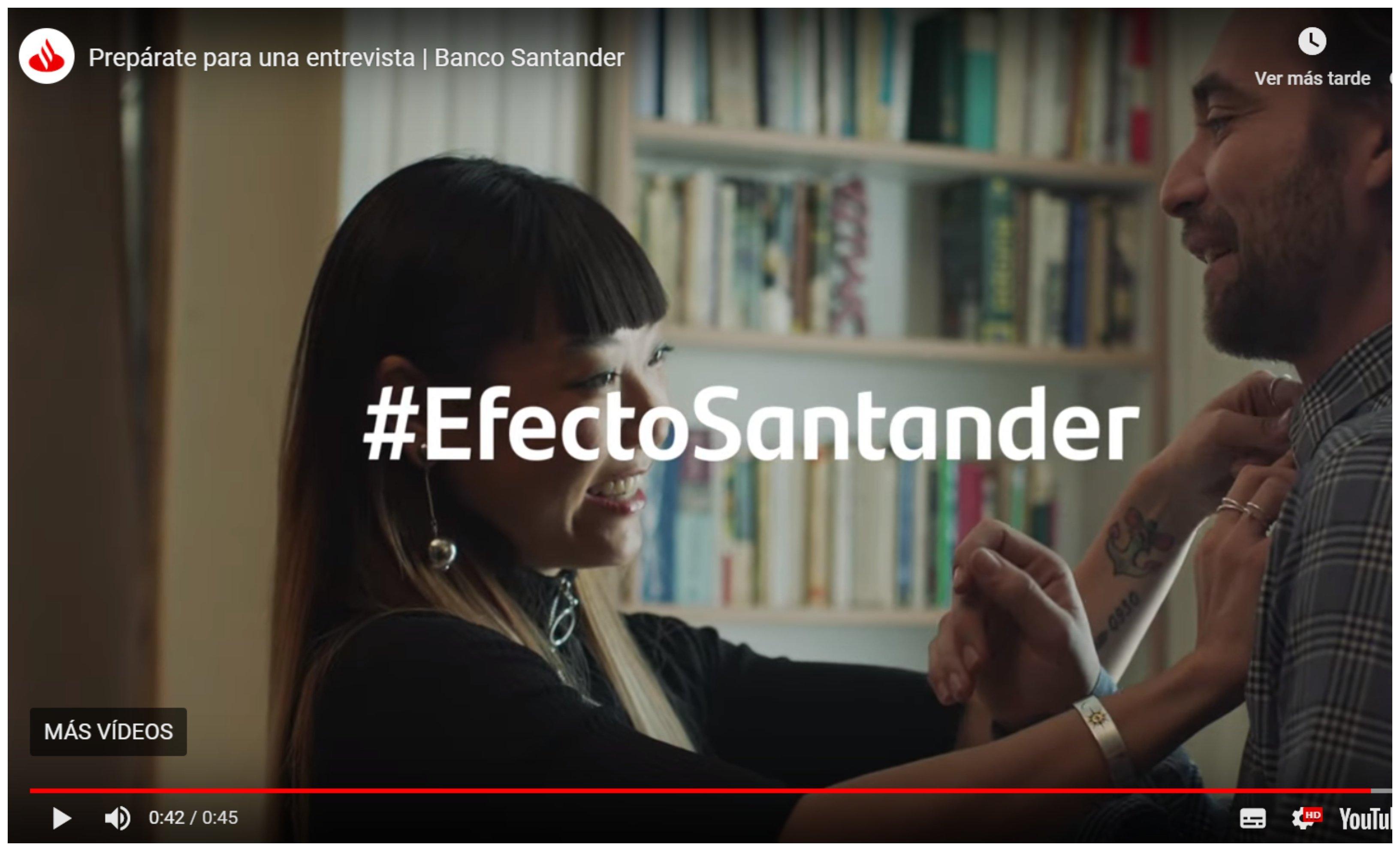 Campaña del banco Santander para contratación de personal