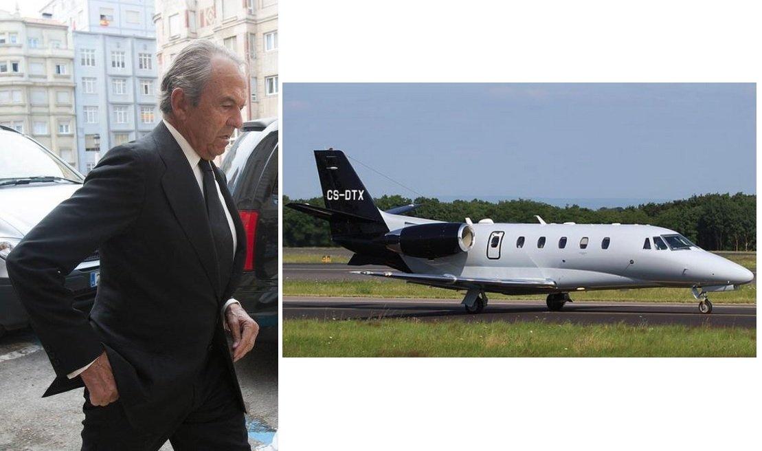 El exbanquero Jaime Botín y un avión del mismo modelo al que adquirió en Portugal