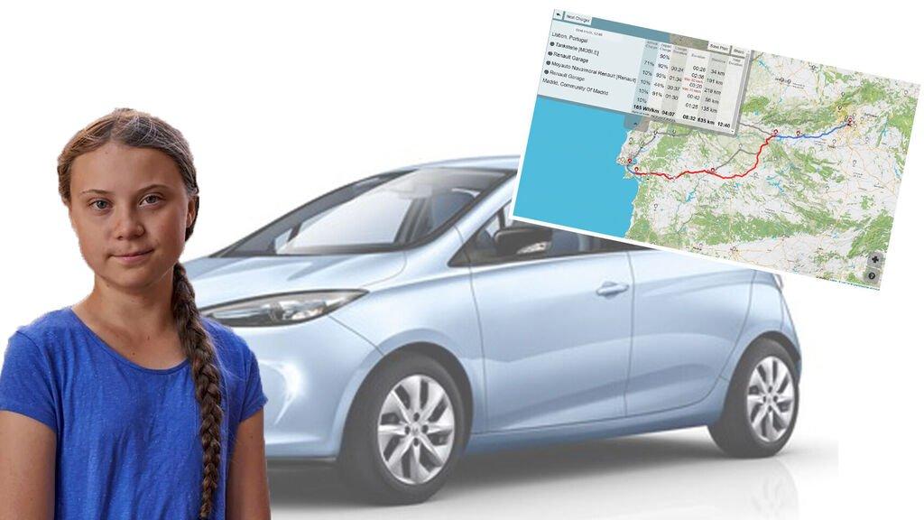 Greta puede estar hasta 12 horas buscando dónde recargar el vehículo eléctrico