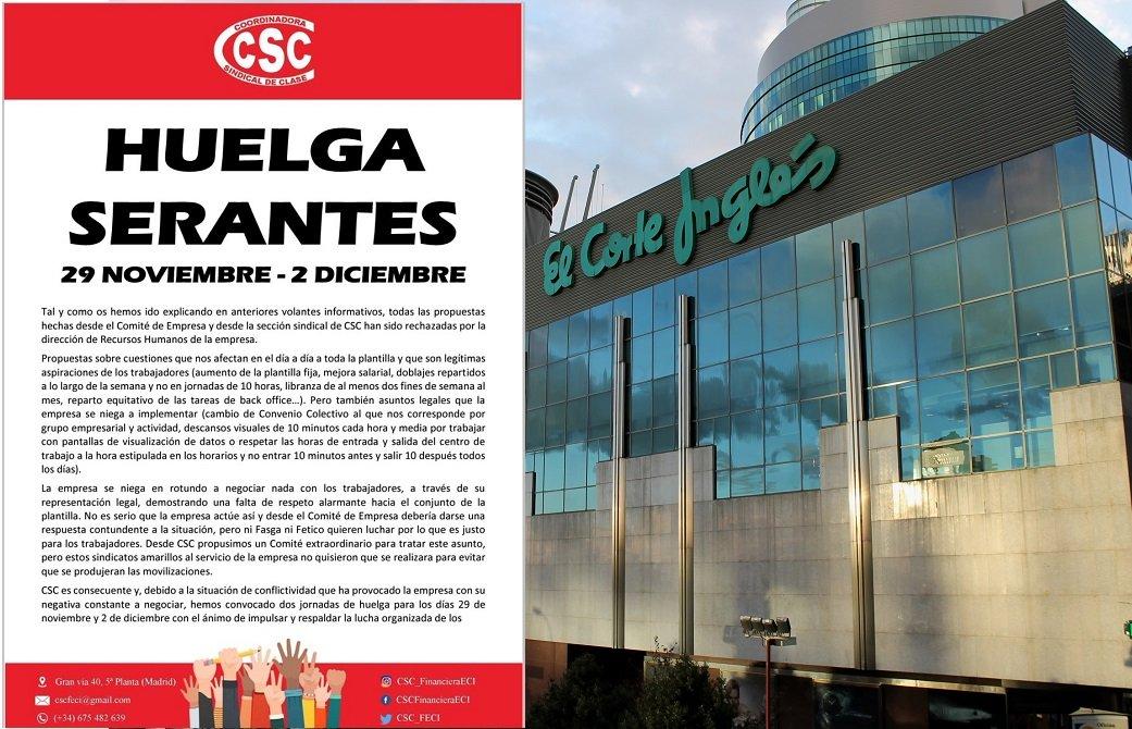 Anuncio de la convocatoria de huelga en el edificio Serantes, donde está el 'call center' de El Corte Inglés, situado muy cerca del centro comercial de Nuevos Ministerios