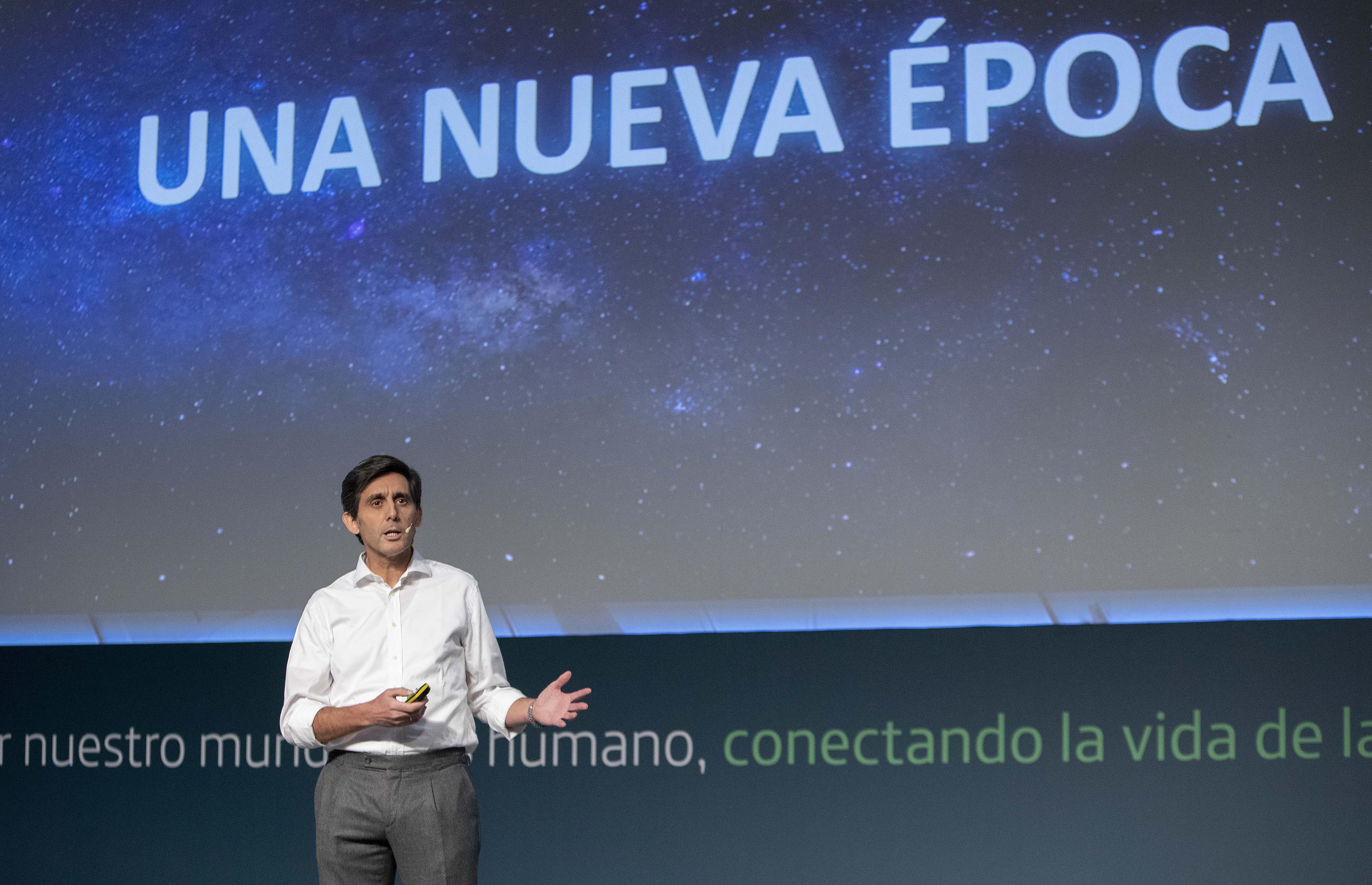 José María Álvarez-Pallete, durante la presentación de la nueva Telefónica