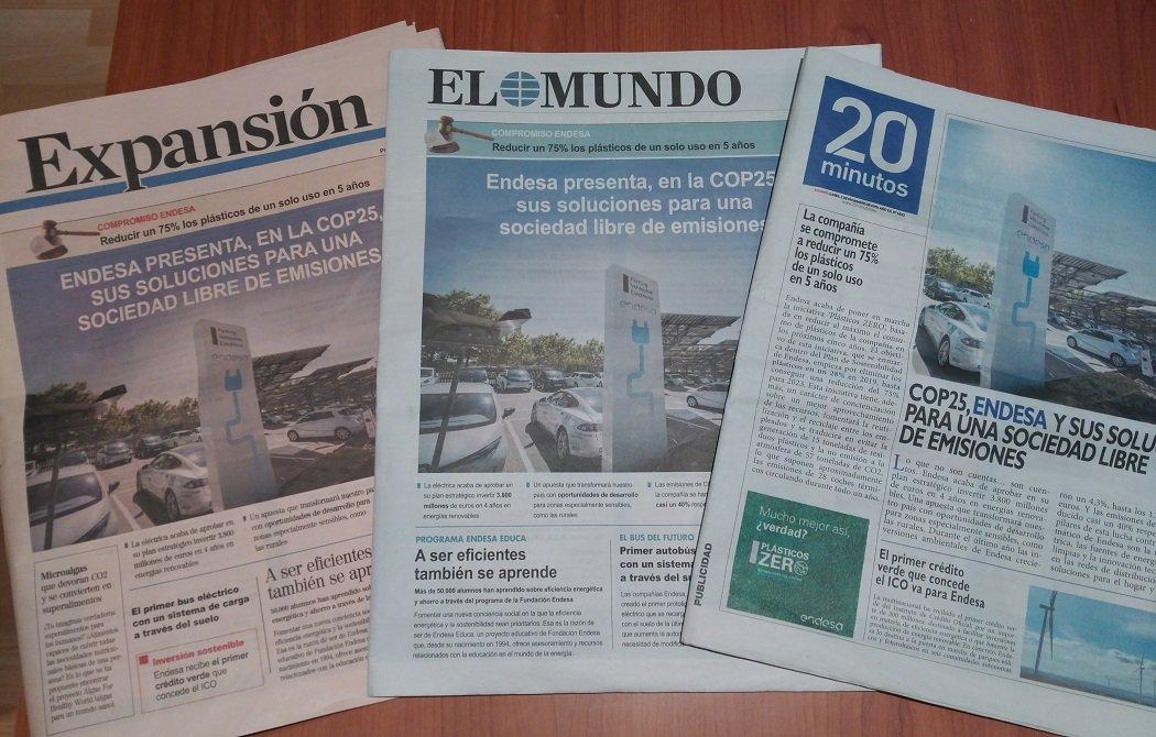 Endesa compra las portadas de los principales periódicos este lunes (generalistas, económicos y algunos regionales)