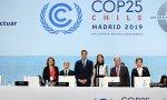 Sánchez junto a la ministra Teresa Ribera; la titular de Medio Ambiente chilena, Carolina Schmidt; y el secretario general de la ONU, Antonio Guterres, entre otros