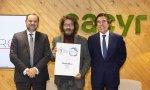 El ministro de Fomento, Jose Luis Ábalos, el CEO de Artabro, Alejandro Casteleiro, y el presidente de Sacyr, Manuel Manrique.