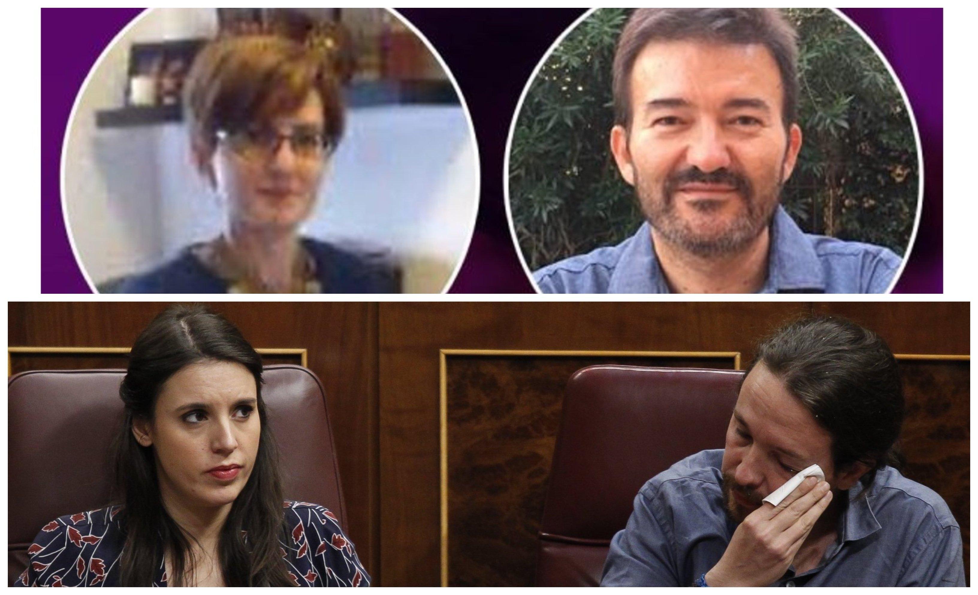 De izquierda a derecha y de arriba a abajo, Mónica Carmona, José Manuel Calvente, Irene Montero y Pablo Iglesias