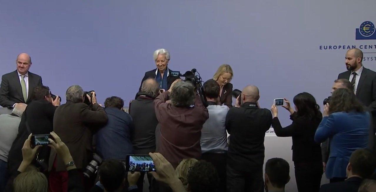 Mucha expectación en la primera rueda de prensa de Christine Lagarde como presidenta del BCE