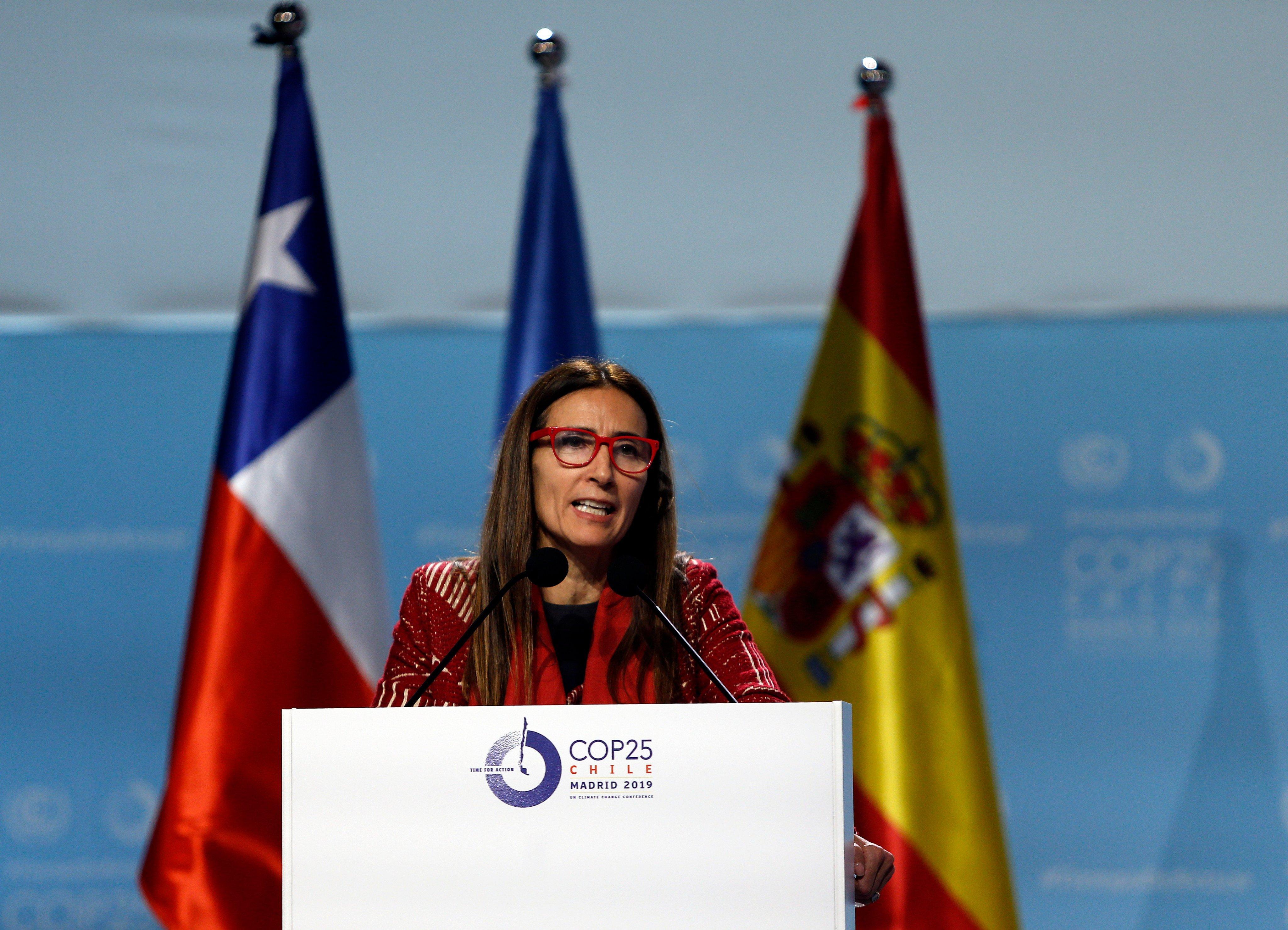 La presidenta de la COP 25, Carolina Schmidt, durante la clausura de la cumbre