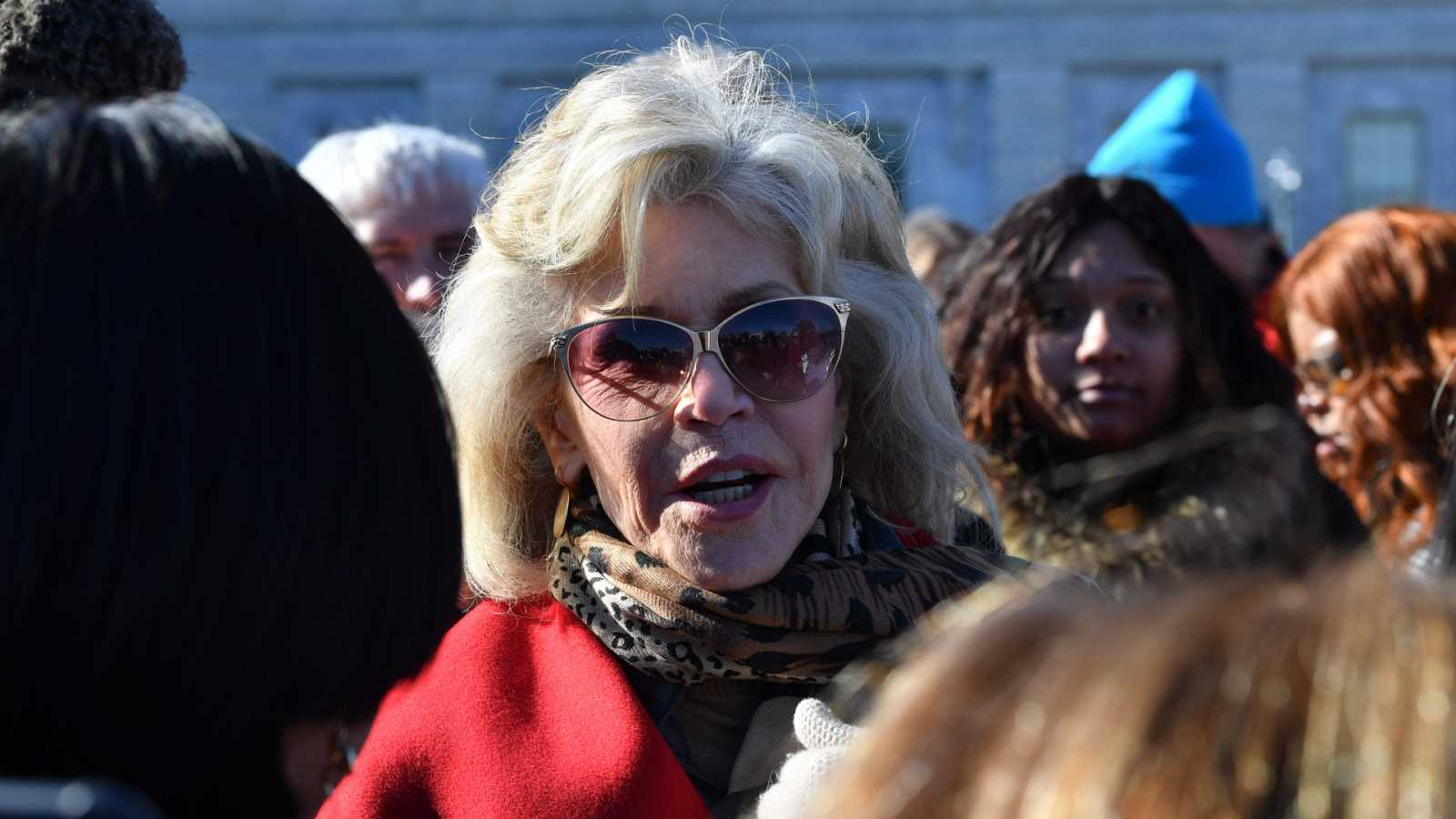 Jane Fonda en una manifestación contra el cambio climático