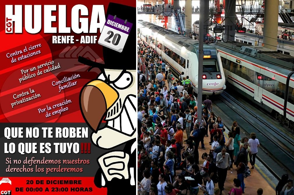 Cartel de la convocatoria de huelga en Renfe por parte de CGT para el viernes 20 de diciembre