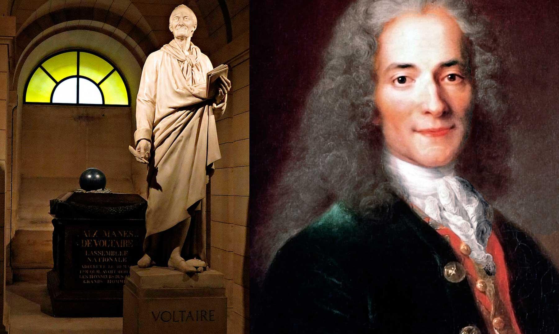 Voltaire y su estatua en el Panteón de París