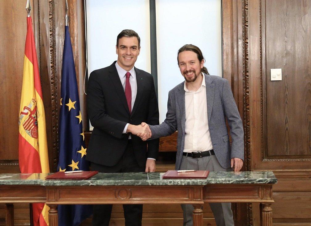 Sánchez e Iglesias firman su programa de gobierno progresista de coalición y gobierno de coalición progresista