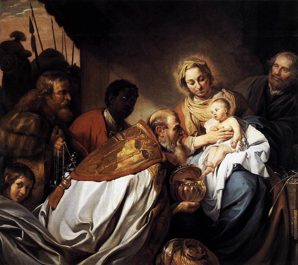 Cuadro que representa la adoración de los Reyes Magos al Niño Jesús, la cual se conmemora en la fiesta de la Epifanía