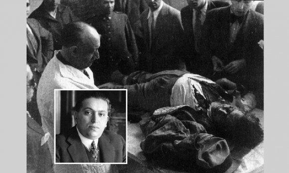 José Calvo Sotelo cuando estaba vivo y su cadáver tras ser asesinado
