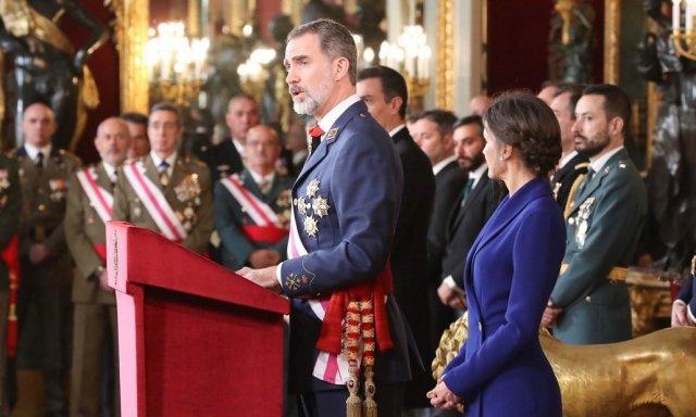 El rey Felipe VI presidiendo la Pascua Militar de 2020