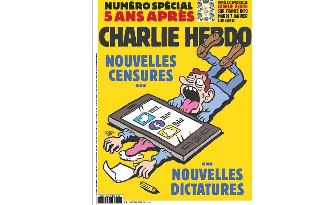 Portada de la revista satírica francesa 'Charlie Hebdo' de este martes 7 de enero de 2020
