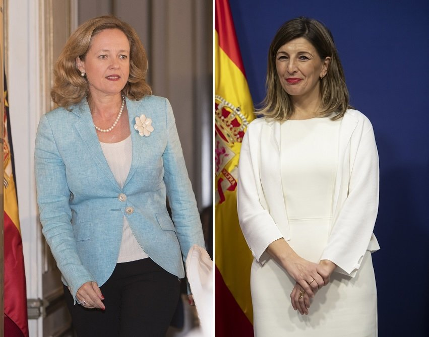 La vicepresidenta económica, Nadia Calviño, y la ministra de Trabajo, Yolanda Díaz