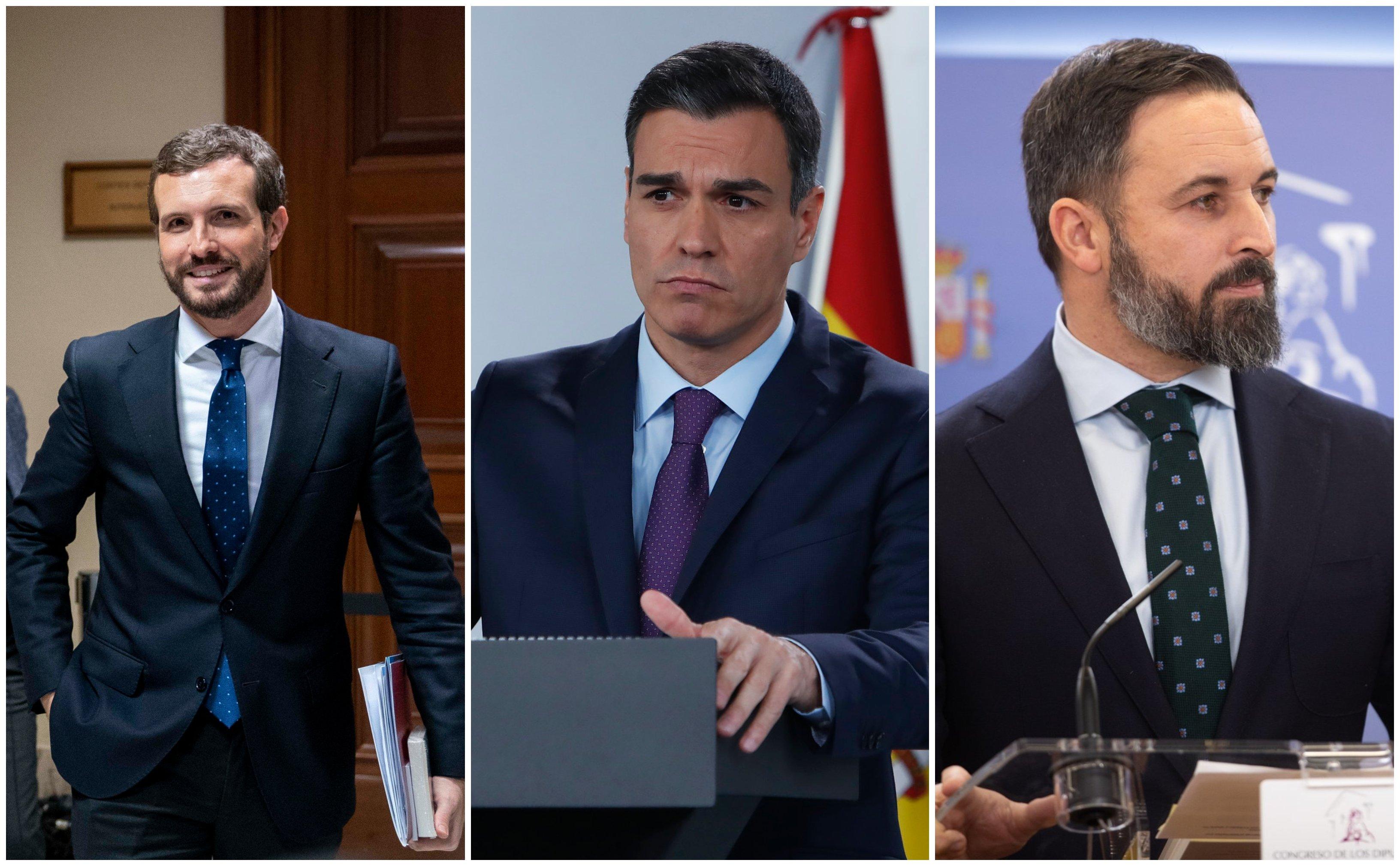 Pablo Casado y Pedro Sánchez contra el mutante Santiago Abascal