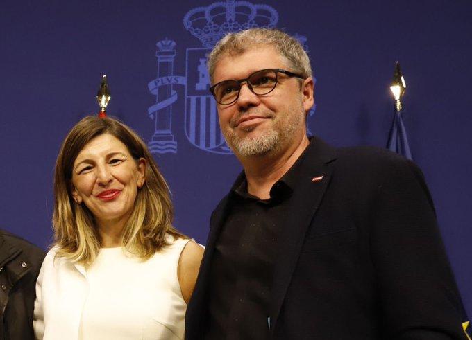 La ministra de Trabajo, Yolanda Diaz y el secretario general de CCOO, Unai Sordo