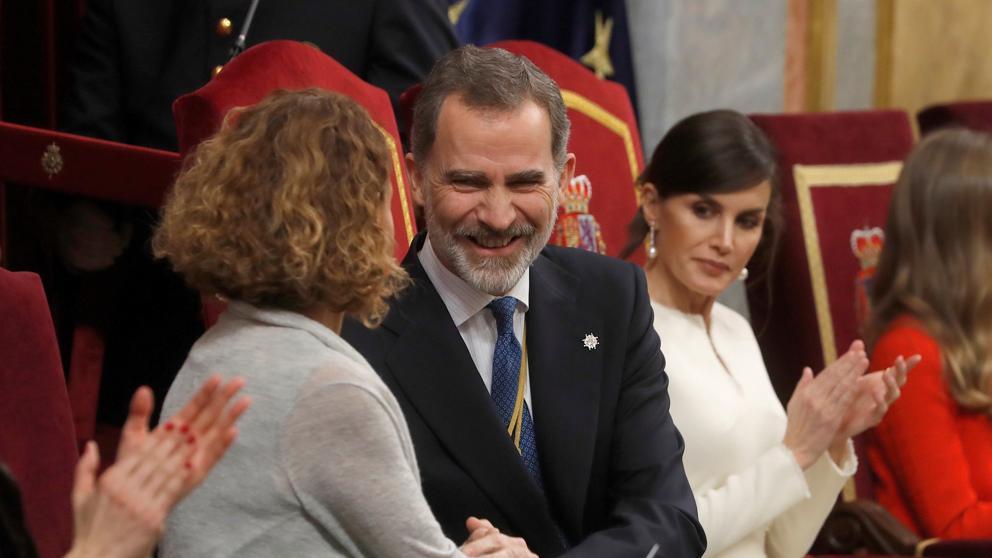 Felipe VI con la presidenta del Congreso, Meritxell Batet