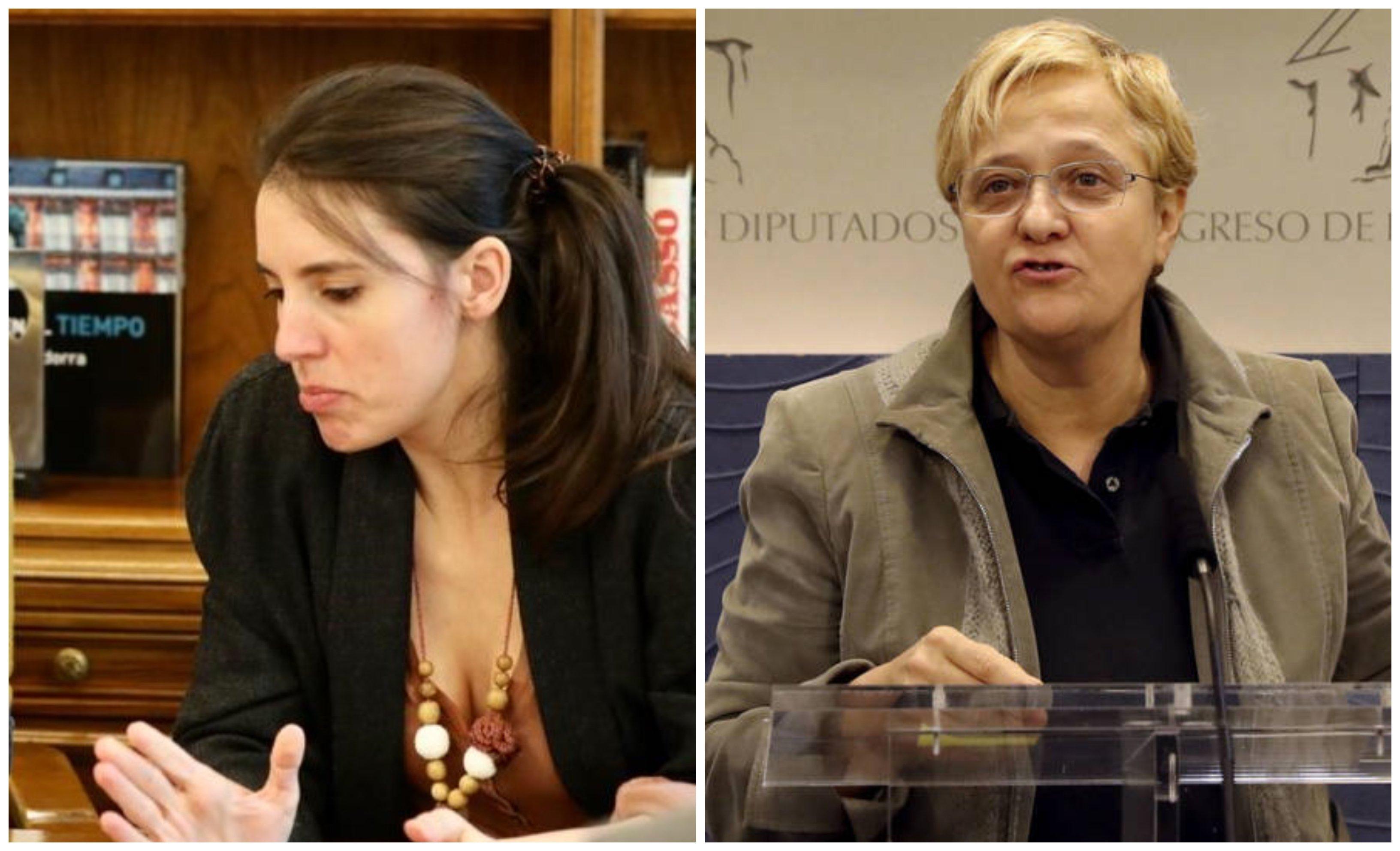 Irene Montero y Ángeles Álvarez