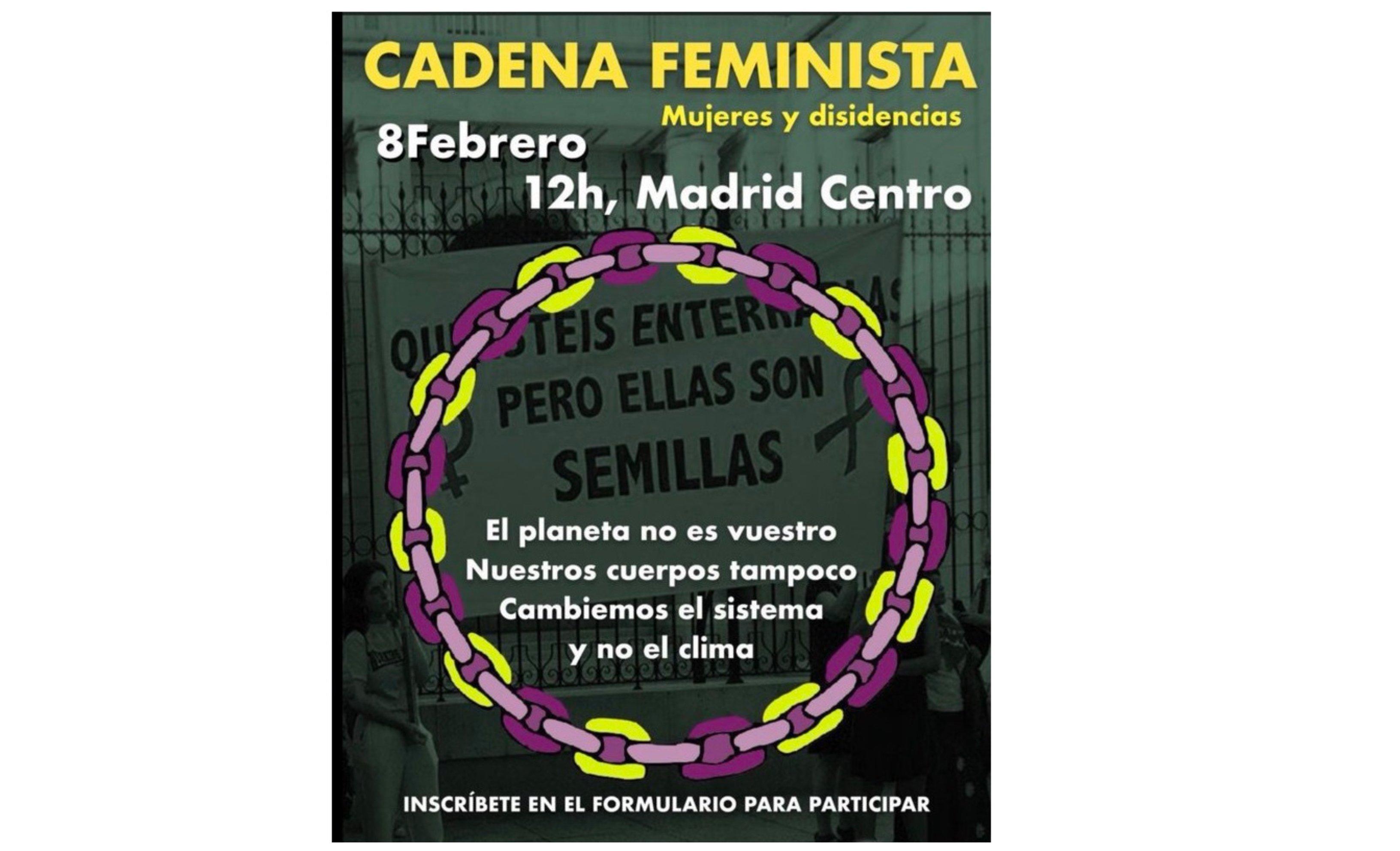 Cadena feminista en Madrid