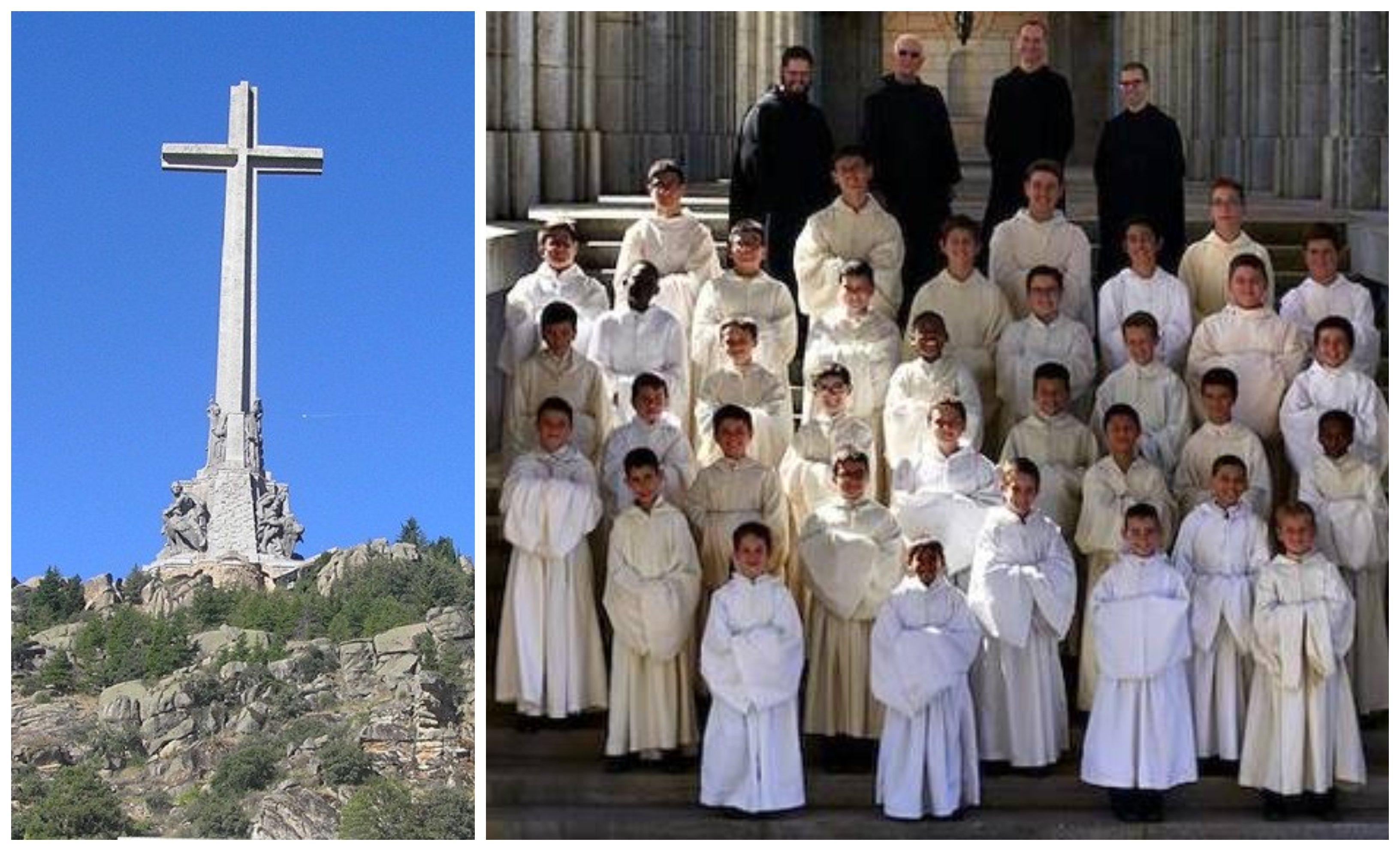 La cruz del Valle de los Caídos y la Escolanía de los benedictinos