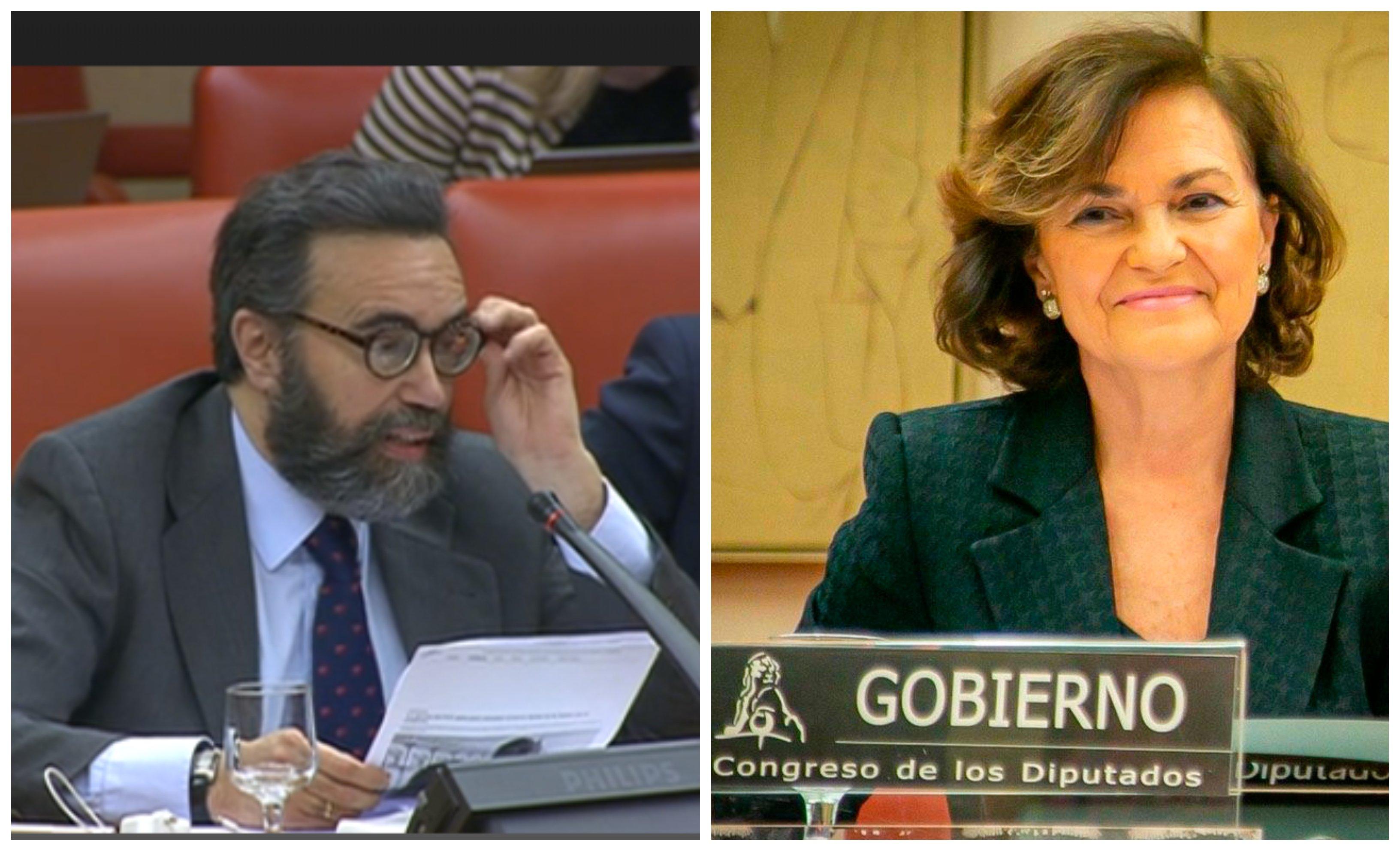El diputado Sánchez García (Vox) resume el sectarismo cristófobo de Carmen Calvo