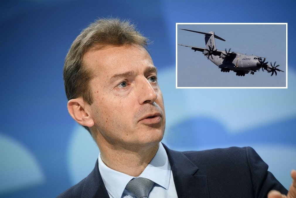 Guillaume Faury, CEO de Airbus, y el famoso A400M que se ensambla en Sevilla