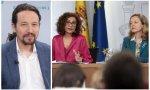 El vicepresidente, Pablo Iglesias y la ministra de Hacienda, María Jesús Montero y la ministra de Economía, Nadia Calviño durante la rueda de prensa tras el Consejo de Ministros