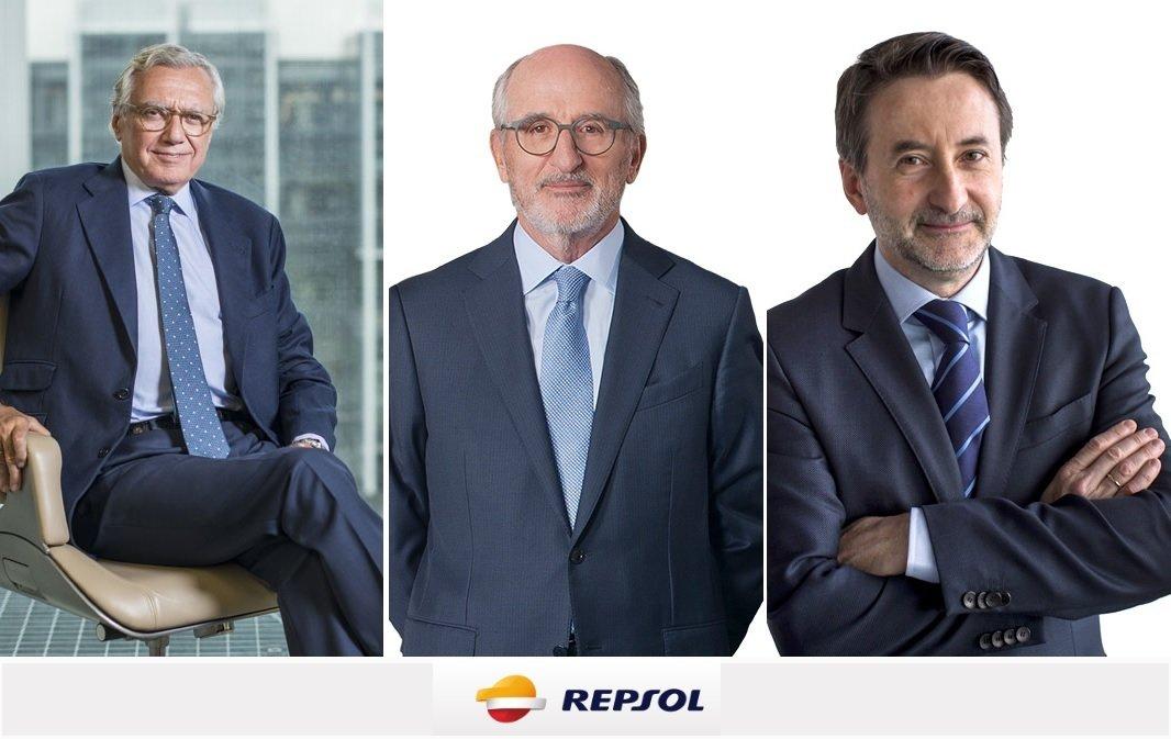Suárez de Lezo, secretario del Consejo; Brufau, presidente; e Imaz, CEO de Repsol