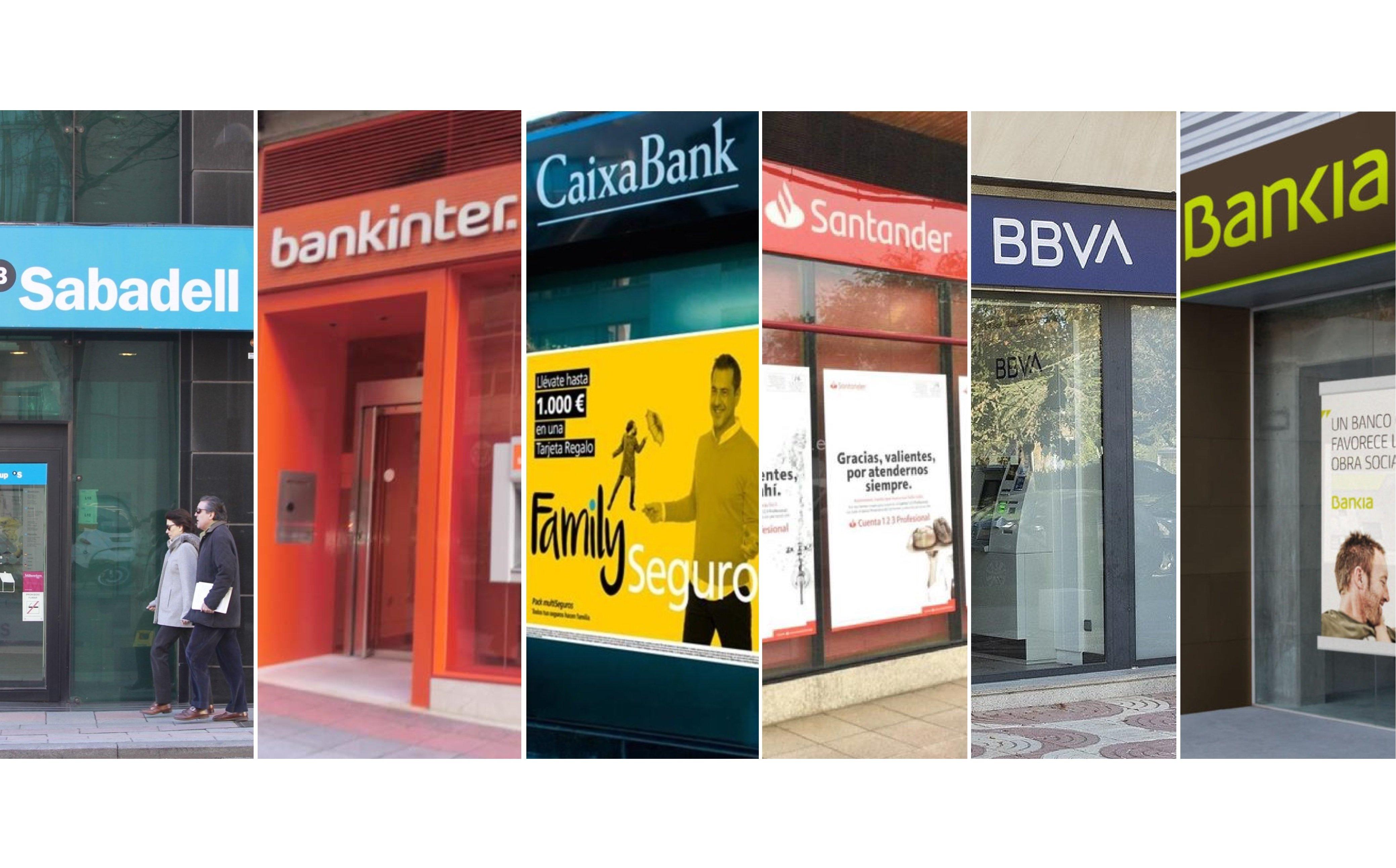 Dos divisiones en la banca española: Sabadell, Bankinter y Caixabank en la primera, y Santander, BBVA y Bankia en la segunda