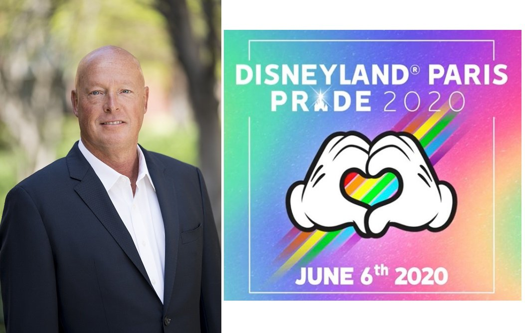 El nuevo CEO de Disney, Bob Chapek, y el cartel del desfile del Orgullo de este año en Disneyland Paris