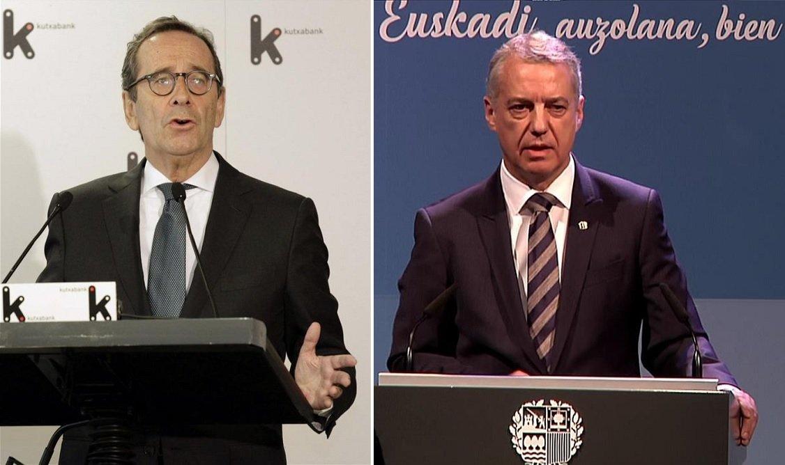 Gregorio Villalabeitia, presidente de Kutxabank, y el lehendakari vasco, Iñigo Urkullu