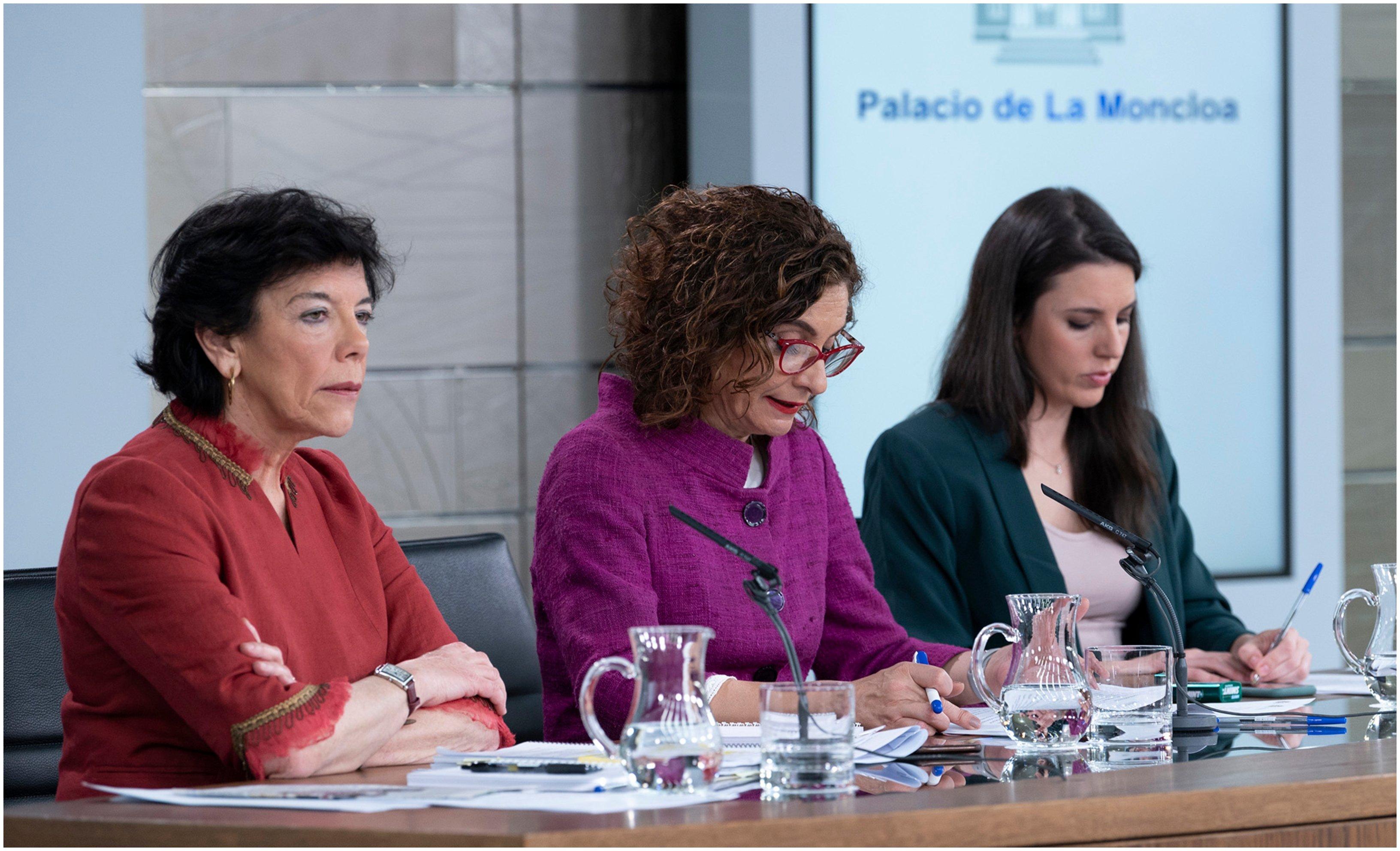 Celaá, María Jesús Montero e Irene Montero