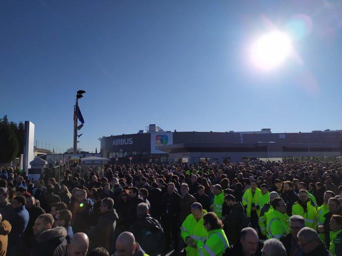 Una de las protestas de trabajadores en la planta de Airbus en Getafe (Madrid)