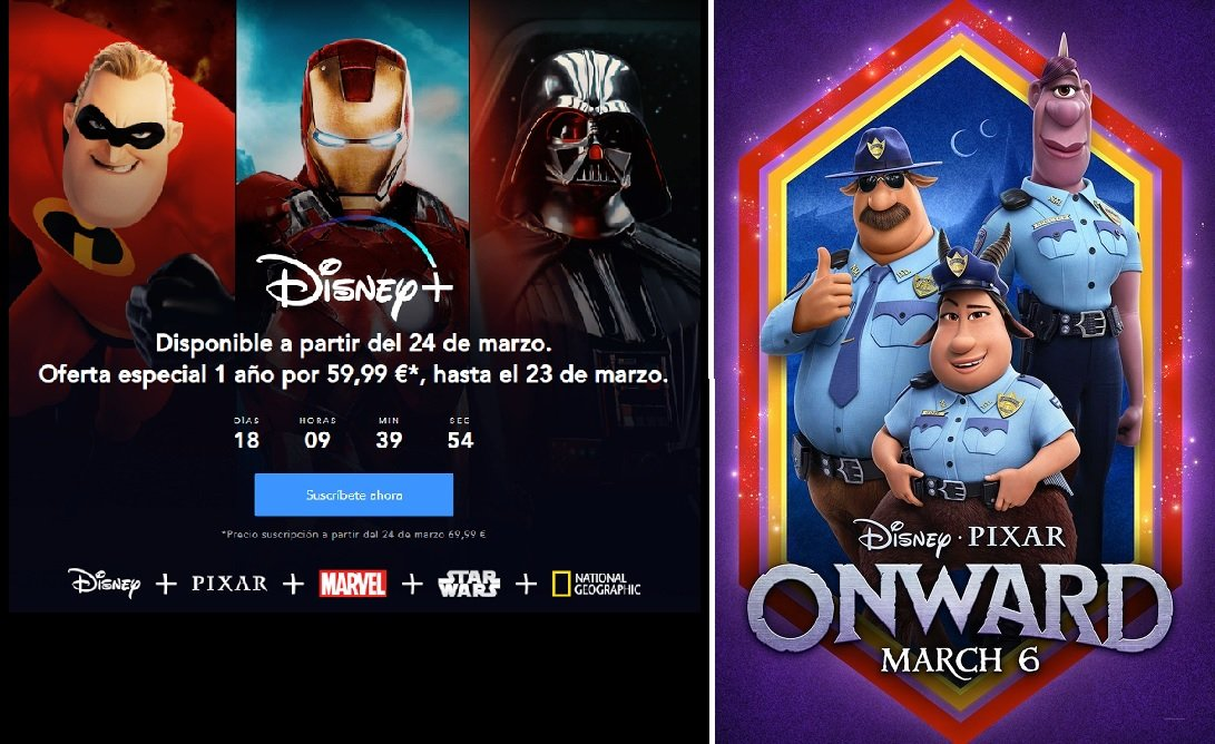 The Walt Disney lanza su plataforma de 'streaming' y estrena 'Onward' en los cines