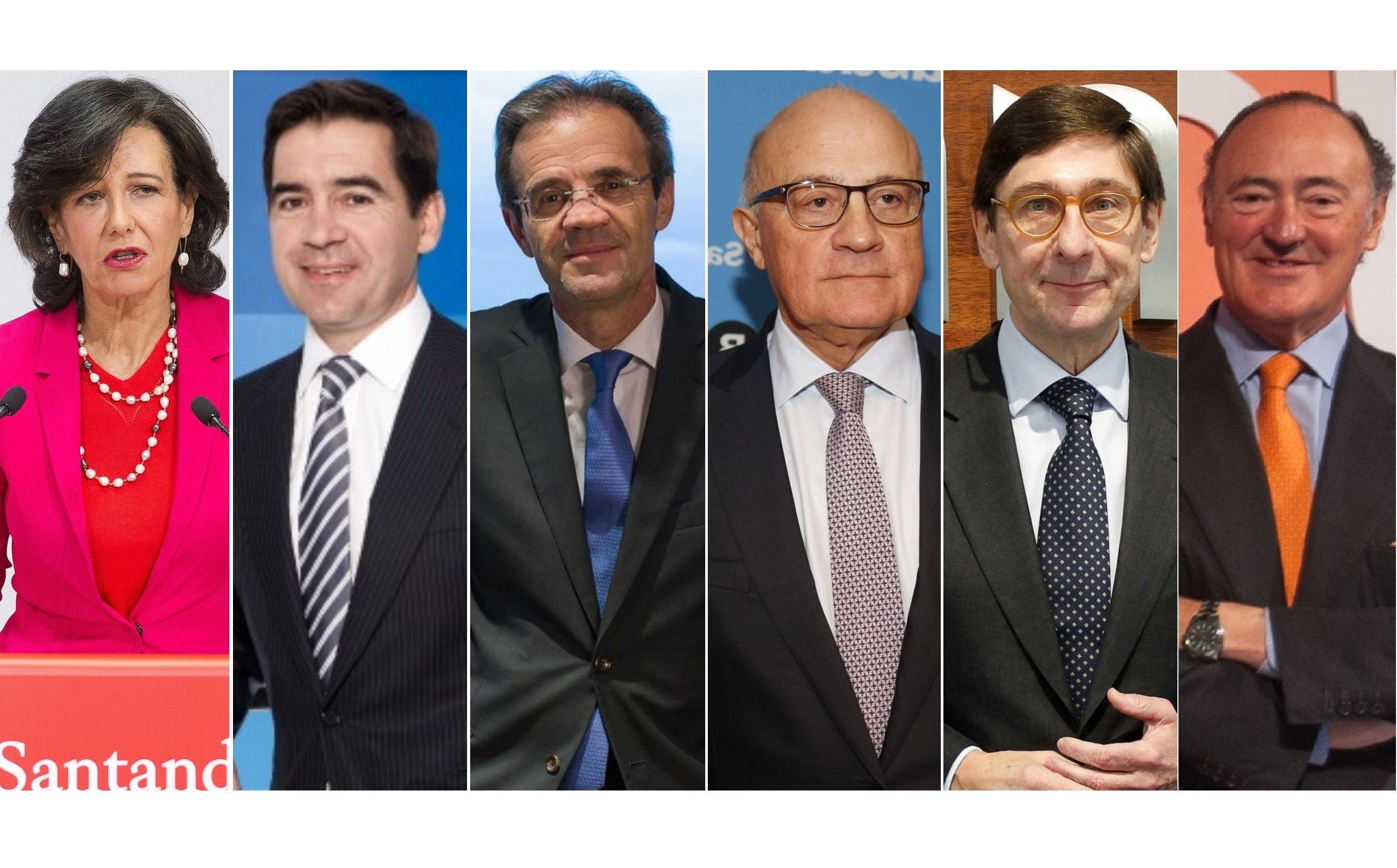 Ana Botín (Santander), Carlos Torres (BBVA), Jordi Gual (Caixabank), Josep Oliu (Sabadell), José Ignacio Goirigolzarri (Bankia), y Pedro Guerrero (Bankinter)