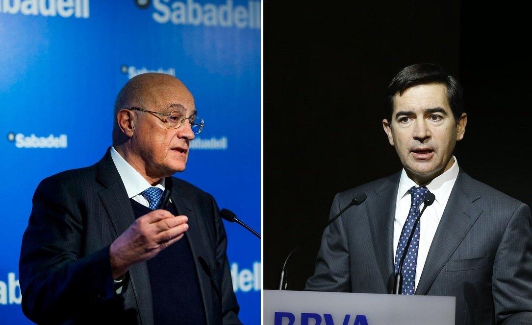 Los presidentes de Banco Sabadell y BBVA, Josep Oliu y Carlos Torres, respectivamente
