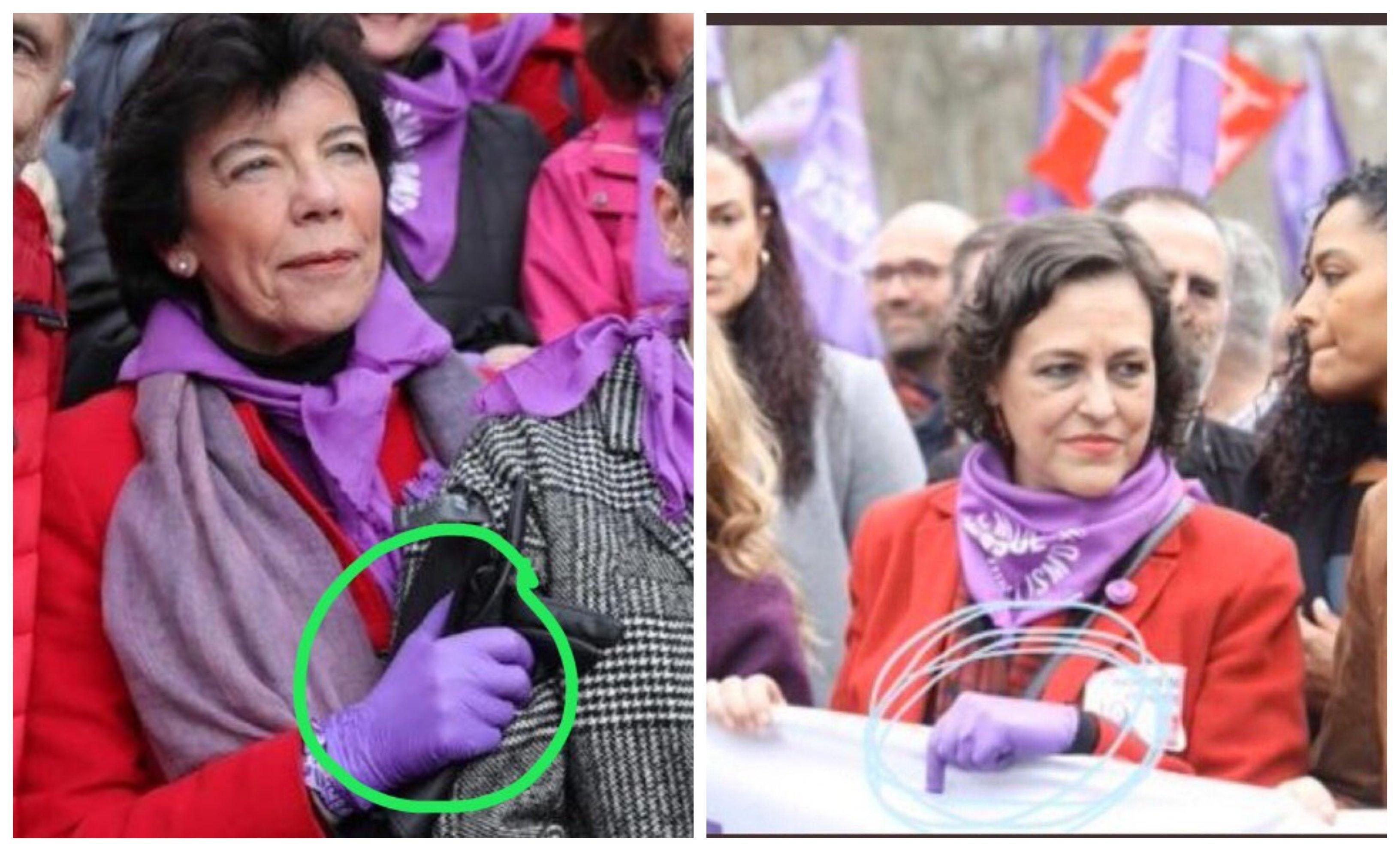 8M. La ministra de más edad del Gobierno y la ex de Trabajo, Valerio, con guantes de latex en la manifestación.. ¿sabían algo que los demás no sabíamos?