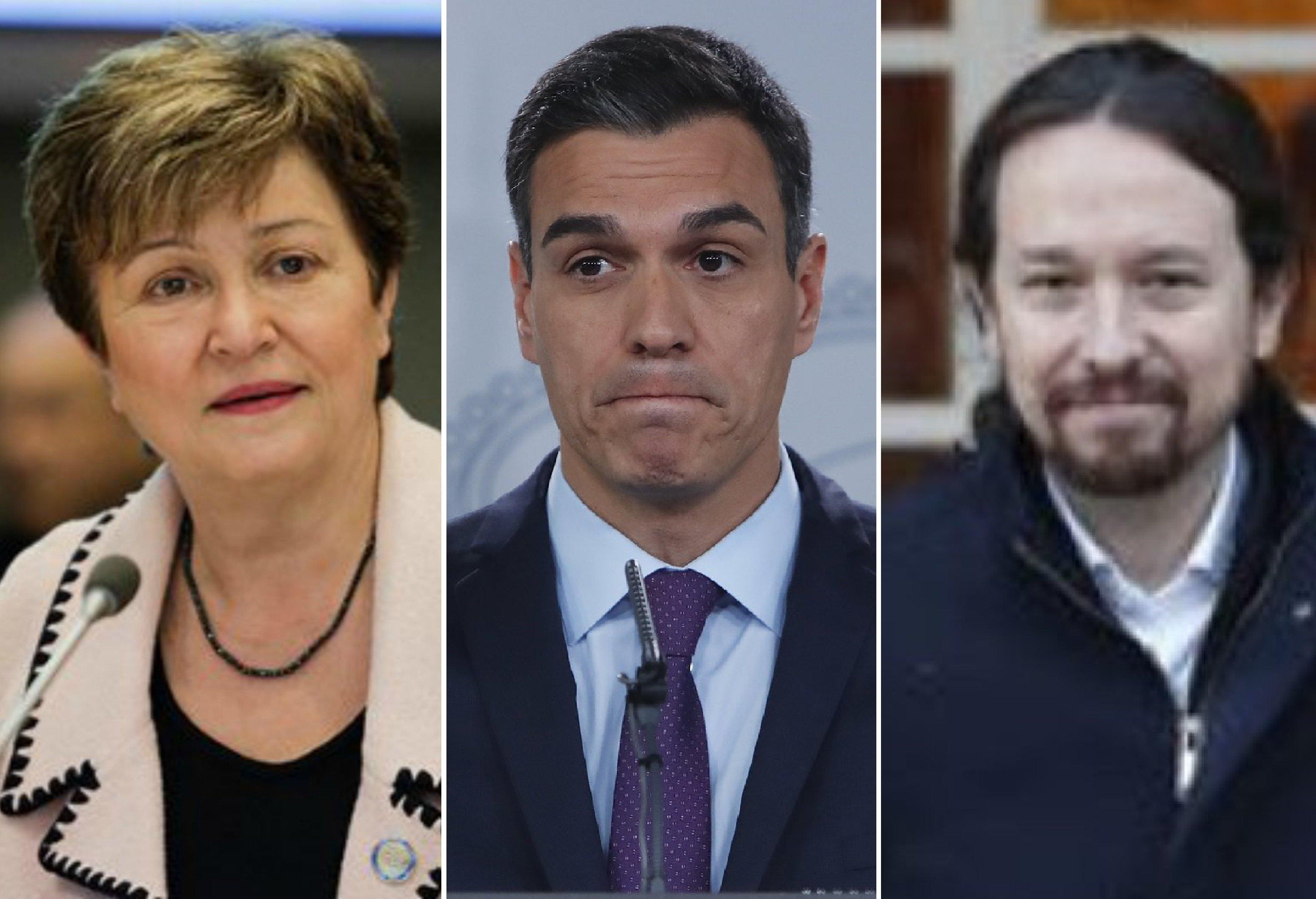 La gerente del FMI, Kristalina Georgieva, Pedro Sánchez y Pablo Iglesias