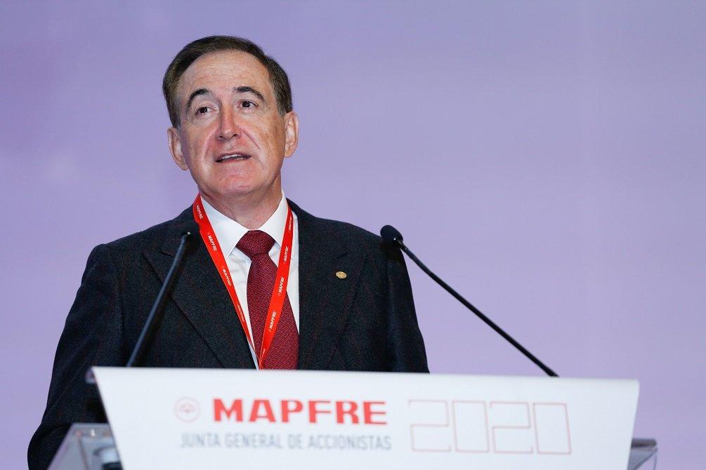 Antonio Huertas, presidente de Mapfre, en su intervención en la Junta de Accionistas