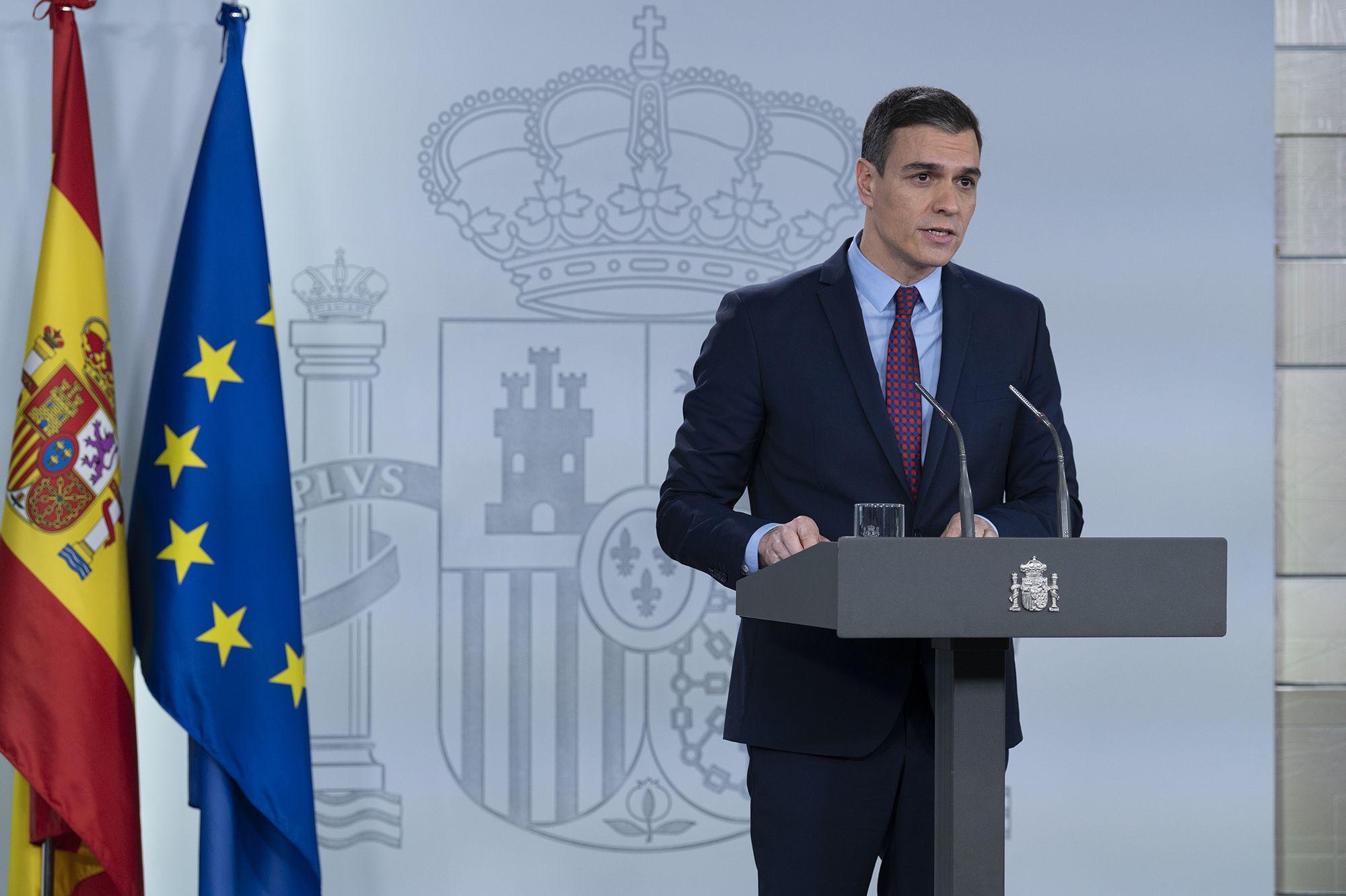 Pedro Sánchez en su comparecencia del pasado jueves