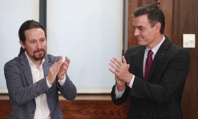El vicepresidente Pablo Iglesias y el presidente Pedro Sánchez.