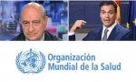 Fernández, Sánchez y logo de la OMS